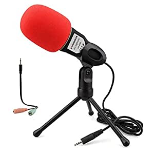 Condenser Microphone PC Recording Microphone ,Oenbopo 3.5mm Plug&Play Home Stereo MIC With Desktop Tripod for YouTube Video Skype Chatting Gaming Podcast Recording for PC Laptop IOS Android Phone Tablets