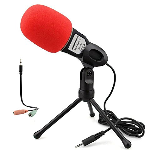 (Condenser Microphone,Computer Microphone,SOONHUA 3.5MM Plug and Play Omnidirectional Mic with Desktop Stand for Gaming,YouTube Video,Recording Podcast,Studio,for PC,Laptop,Tablet,Phone)