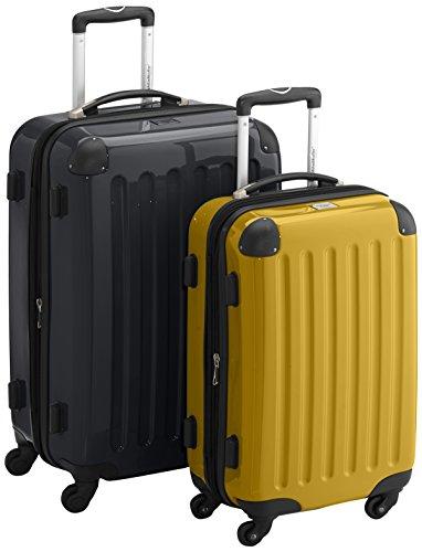 HAUPTSTADTKOFFER - Alex - 2er Koffer-Set Hartschale glänzend, TSA, 65 cm + 55 cm, 74 Liter + 42 Liter, Graphit-Gelb Schwarz-gelb