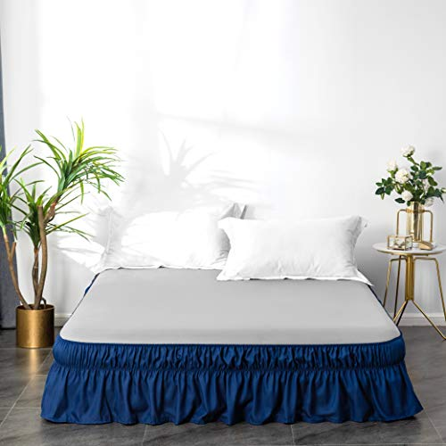 AYASW Bed Skirt 14 Inch Drop Dust Ruffle Three Fabric Sides Wrap Around (Queen or King Blue) Brushed Microfiber Adjustable Elastic