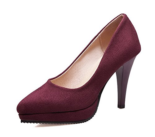 Heels High Court Frosted Shoes Women's Toe Claret Pull Closed WeenFashion Solid On StwIqxf
