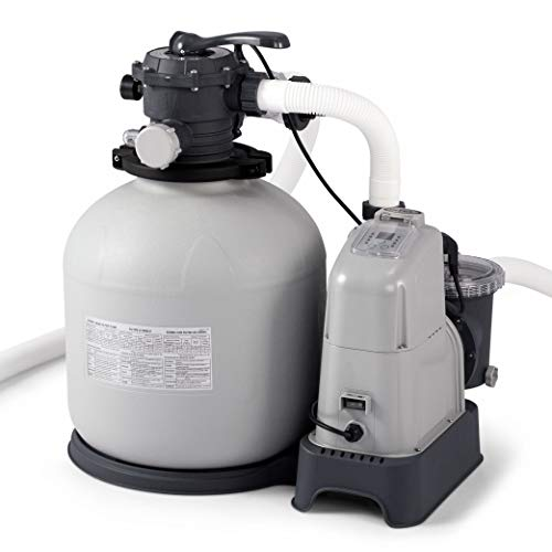 Intex Krystal Clear 2150 GPH Sand Filter Pump & Saltwater System with E.C.O. (Electrocatalytic Oxidation) for Above Ground Pools, 110-120V with GFCI Above Ground Saltwater Chlorine Generator
