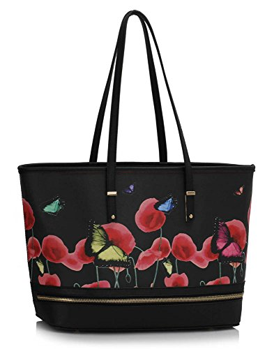 3 Womens Design Oversized Large Folder Animal Black A4 Extra Also Butterfly Bags Print Shoulder Handbags fits Female Ladies Bags TwrSTa