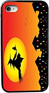 Rikki KnightTM Halloween Witch on Broomstick Silhouette Design iPhone 5 & 5s Case Cover (Black Rubber with bumper protection) for Apple iPhone 5 & 5s