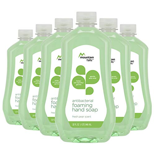 Mountain Falls Antibacterial Foaming Hand Soap Refill Bottle, Fresh Pear, 32 Fluid Ounce (Pack of 6)