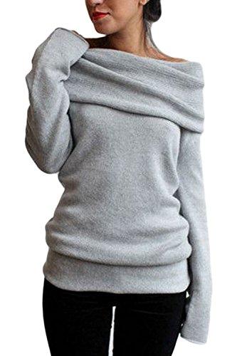 Las Mujeres De Manga Larga Cuello Barco Montones De Otoño Collar Knitwear Shirt Top Tee Gray