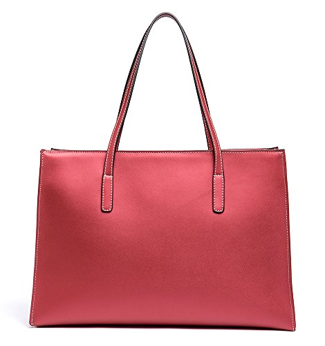 Leather Handbag Shopping Bag Cow Shoulder Handle Tote Red Womens Bags Bag Top Wine Color Bag Pure OSONM wIOpqSRn