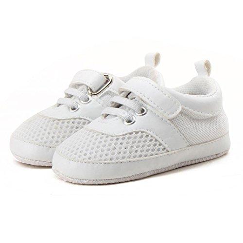 OverDose Unisex Baby Sneakers, Baby Säugling Kleinkind Schuhe Jungen Mädchen Mesh Soft Sohle Turnschuh Sport Schuhe Sommer Schuhe Breathable Atmungsaktiv Sommer Sneaker Weiß