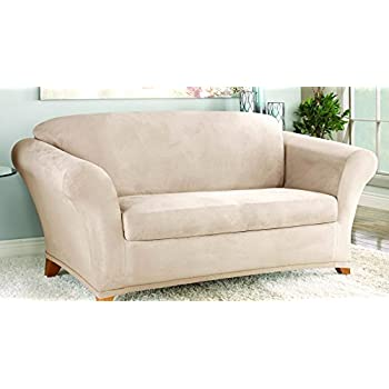 sure fit stretch suede loveseat slipcover taupe sf35544