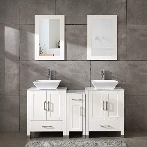 60″ Bathroom Vanity Cabinet Double Sink White Solid Wood w/Marbel Counter Top