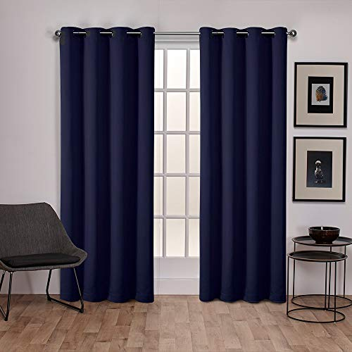 (Exclusive Home Sateen Twill Woven Blackout Grommet Top Curtain Panel Pair, Peacoat Blue, 52x84)