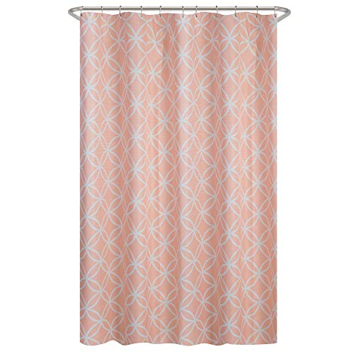 MAYTEX Emma Fabric Shower Curtain, Coral, 70 inches x 72 inches (Orange Curtain And Shower Gray)