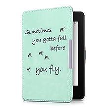 kwmobile Funda para Amazon Kindle Paperwhite - eReader Case de cuero sintético - Con tapa E-book reader Flip style Diseño Sometimes you gotta fall negro menta