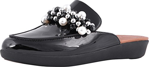 FitFlop Womens Serene Deco Beaded Mule Shoes, Black, US 6