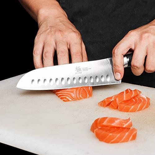 KYOKU Samurai Series - Santoku Chef Knife 7'' with Sheath & Case - Full Tang - Japanese High Carbon Steel - Pakkawood Handle with Mosaic Pin by KYOKU (Image #1)