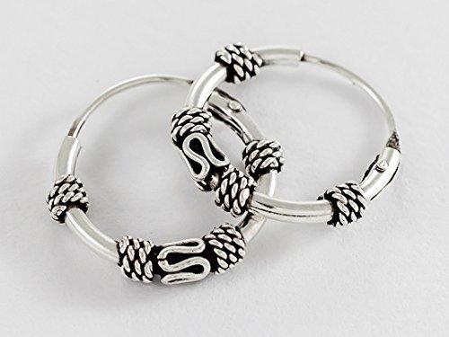 925 Sterling Silver Tribal Bali Earring Hoops Cartilage 1/2