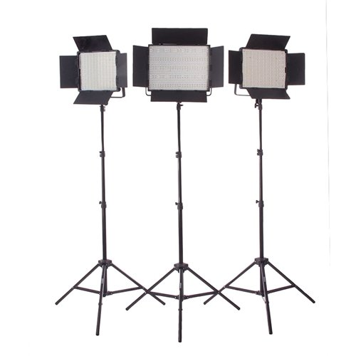 StudioPRO (Set of 3) 1200 Dimmable 5600K Daylight LED Light Bulbs S-1200DN LED Photography Lighting Panel Includes Barndoor & Light Stand Kit for Photo, Video & Film Production - Continuous Lighting Studio Kit by StudioPRO