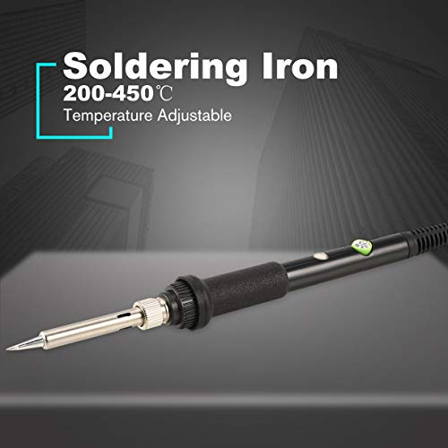 60W Electronic Soldering Iron Gun Welding Tool Temperature Adjustable Rework Repairing Tool Solder with LED Indicator (Tig Welding Cast Iron With Silicon Bronze)