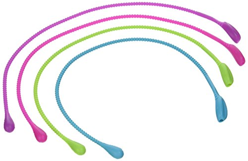 Fusionbrands 15-Inch Silicone Food Loop Trussing Tool, Pink, Set of 4