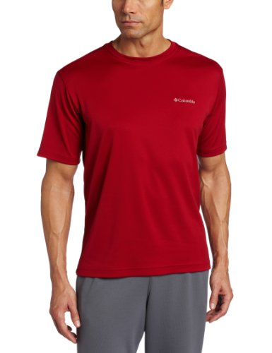 Columbia Men's Tall Meeker Peak Short Sleeve Crew, Red Velvet, - Velvet Big Shirt