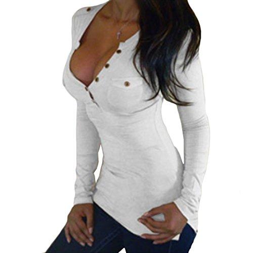 Camicia Scollo a Lunga V Lunghe Top Maniche con Yefree Bianca Maniche Pullover Lunghe a Manica a PIz7Cwq