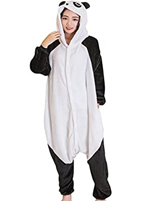 QQonsie Panda Pajamas Costume Adult Onesie for Women Men Teens Animal Onsie Pjs