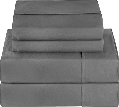 Premium 4 Piece Bed Sheet Set (Queen, Grey) 1 Flat Sheet 1 Fitted Sheet and 2 Pillow Cases - Brushed Velvety Microfiber - Luxurious and Extremely Durable - by Utopia Bedding.
