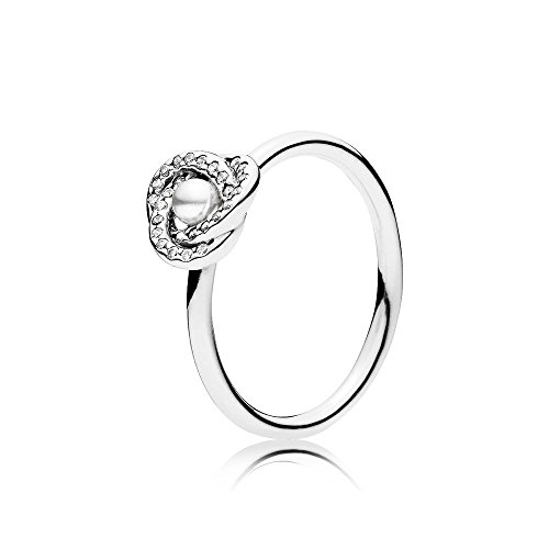 PANDORA Luminous Love Knot Ring, White Crystal Pearl & Clear CZ 191040WCP-56 EU 7.5 US