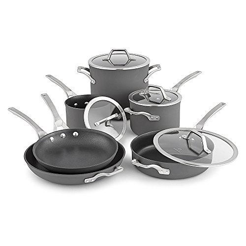 (Calphalon Signature Hard Anodized Nonstick Cookware Set, 10-piece, Grey)