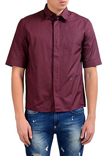 Dior Christian Men's Burgundy Short Sleeve Dress Shirt US 15 IT 38 - Christian Dior Mens Clothing