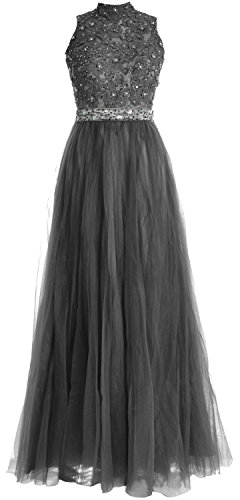 MACloth Women High Neck Lace Tulle Long Prom Dress Wedding Party Formal Gown Gris