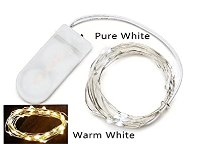 Pack of 3 sets Darice' LED Moon Lights 20 Micro Starry LEDs on Silver Extra Thin Copper Wire, 2 x CR2032 Batteries Required and Included, 3.5 Ft (1m) for DIY Wedding Centerpiece or Table Decorations