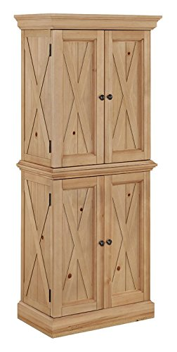 72'' Kitchen Pantry X Classic Design in Honey Pine Finish Made of Wood Solid Manufactured Wood Classic Addition to Your Home by eCom Fortune