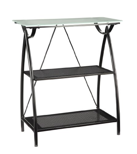 Office Star Newport Black Powder Coated Steel Frame 2 Shelf Bookcase With Frosted Tempered Glass Top