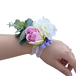 Abbie Home Pink Rose Wrist Corsage for Prom Wedding Party White Peony Flower Wristbands Hand Flower 105