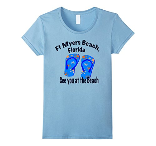 Womens Ft Myers Beach  Florida Beach Tee Shirt Medium Baby Blue