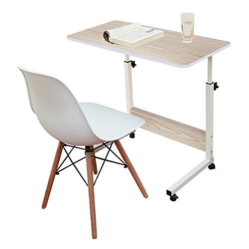 Jerry & Maggie - Adjustable Height Desk Laptop Desk Office Home Movable Table Bedside Lapdesk With 4 Wheels Flexible Wooden Stand Desk Cart Tray Side Table - White Wood Tone by Jerry & Maggie