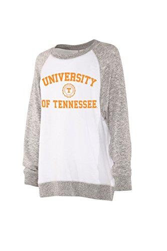 chicka-d NCAA Officially Licensed University of Tennessee Ladies Cozy Crewneck Lightweight Sweatshirt/Sweater- Tennessee Volunteers Women's Apparel ()