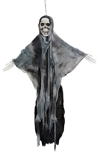 35 Inch Hanging Fabric Poseable Skull Ghost Halloween Decoration (Gray) (Scary Outdoor Halloween Decorations)