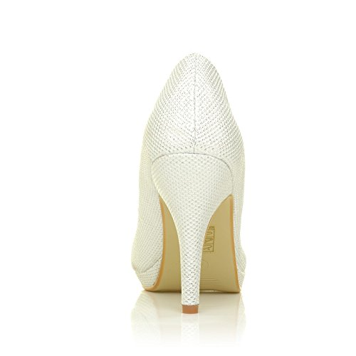 CHIP Cream White Mesh Glitter Pumps Mid-High Heel Low Platform Court Shoes axjEH