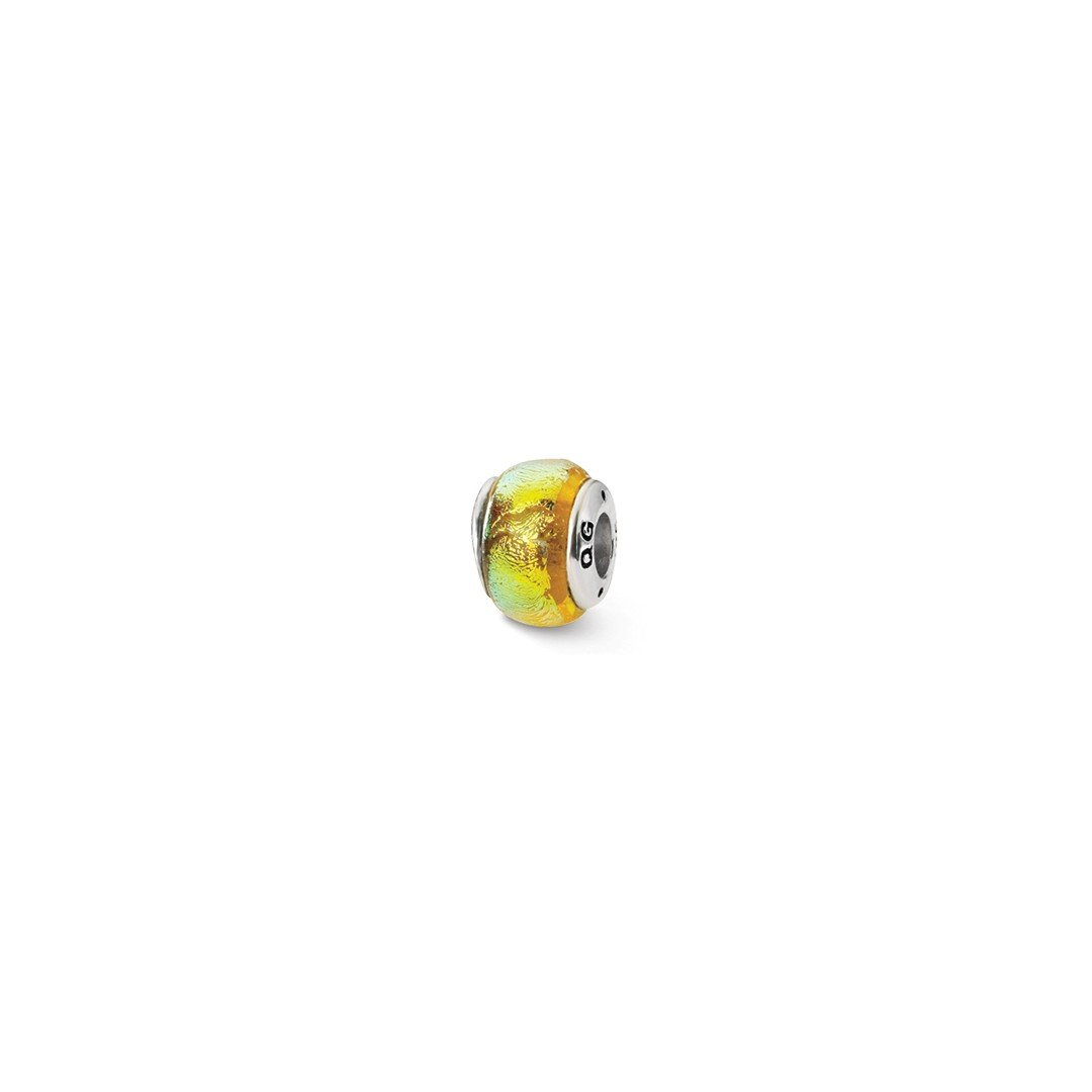 ICE CARATS 925 Sterling Silver Charm For Bracelet Yellow Dichroic Glass Bead Glas Fine Jewelry Ideal Gifts For Women Gift Set From Heart