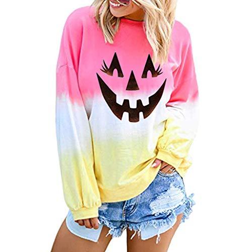 Sweatshirt for Womens,2019 Stylish Halloween Printed Long Sleeve Pullover Pumpkin Tie Dye Casual Loose Jumper Tops Pink