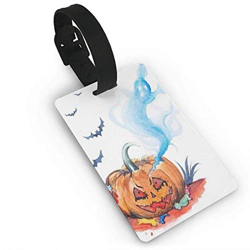 HappyToiletLidCoverX Luggage Tags Name Tags Demonic Pumpkin Bat Travel ID Labels Suitcase Carry On Cards ID Tags PVC Size 2.2'' X 3.7'' (Names Demonic)