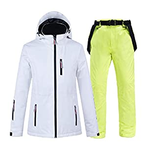 PEIN Men/Woman/Ski Suits/Jacket And Pants/Windproof And Waterproof Outdoor Clothes/Winter Sports/white Top/Green Pants/Couple Suit,ski suits-L