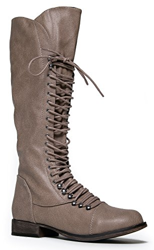 GEORGIA-75 Lace Up Military Combat Knee High Boot