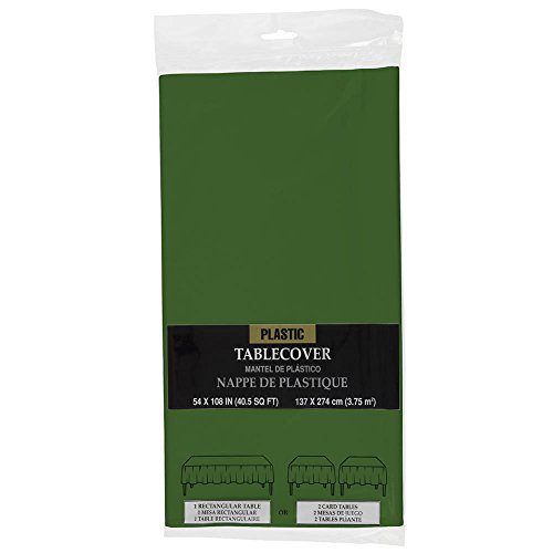 (JAM PAPER Rectangular Plastic Table Cover - 54 x 108 Inches - Green - 1 Tablecloth/Pack)