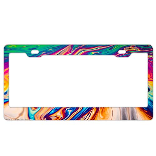 - Rainbow Oil Spill License Plate Frames - Black Licenses Plates Cover, Car Licence Plate Covers Holder Includ Chrome Screw Caps for US Vehicles