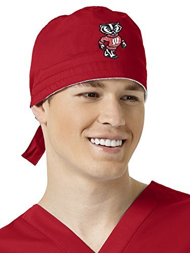 WonderWink Unisex-Adults University of Wisconsin Scrub Cap, Red, (Badger Embroidered Hat)