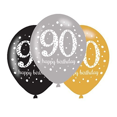 Amscan 90Th Birthday Balloons Black Silver Gold Pack Of 6]()