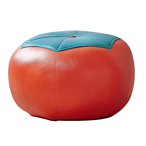 zenggp Ottoman Footstool Cartoon Faux Leather Stool Change Shoe Bench Sofa Stool Adult Child Coffee Table Stool Dining Table Stool Solid Wood Frame Soft Sponge,Pumpkin-404027cm